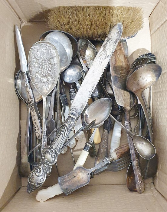 Assorted teaspoons, glass and silver plated sugar sifter, teapot, jam pot and other items (1 box) - Image 3 of 3