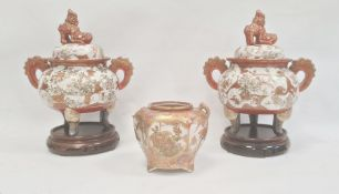 Pair Japanese Kutani earthenware koros, each with domed lid having temple lion finial, the bulbous