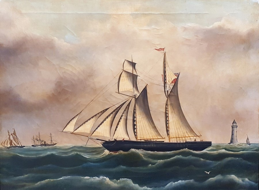 B O Spencer Oil on canvas Sailing ship in choppy waters, signed and dated 76 lower left, 44cm x