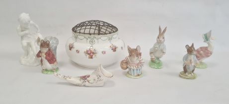 Three Beswick Beatrix Potter figures 'Timmy Tiptoes', 'Mrs Tittlemouse' and 'Town Mouse', a Royal