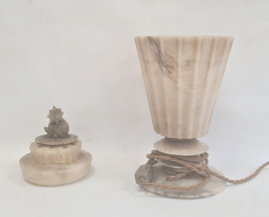 Art Deco style alabaster table lamp of fluted conical form and on bladed circular base, 46cm high