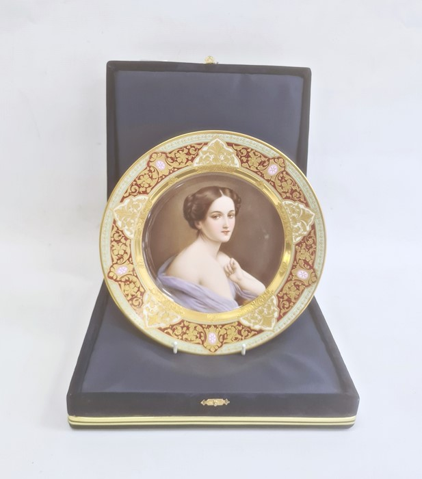 Modern Vienna porcelain cabinet platedecorated with a central figure of a lady within a elaborate