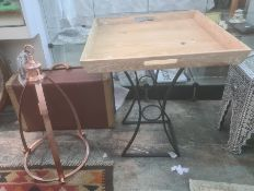 Modern tray-top table and two chairs, modern light fitting and a suitcase(5)