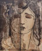 """Geoffrey Key (b.1941) Layered mono print """"Girl Asleep"""", titled, signed and dated 73, 39cm x 31cm"""
