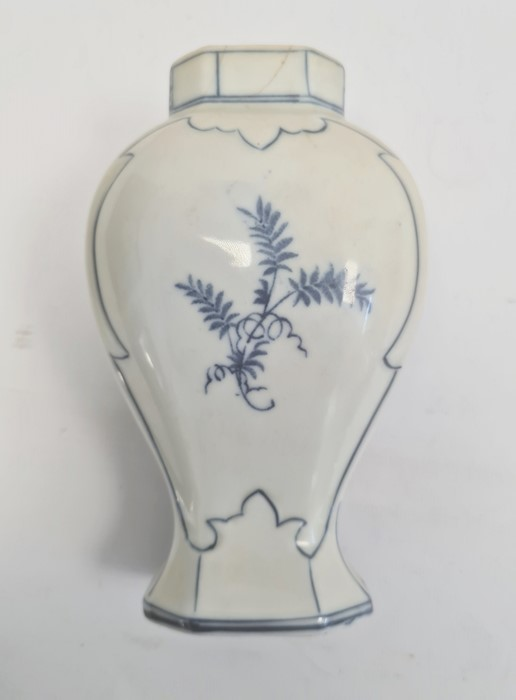 Delft inverse-baluster vase and a maiolica chargerwith stylised foliate spray to centre, blue - Image 3 of 8