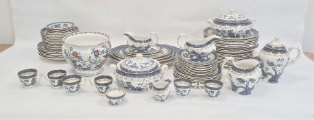 Booths Real Old Willow blue, white and gilt dinner serviceto include set of graduated meat