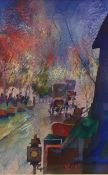 20th century British School Watercolour Street scene with carriages, signed and dated lower right RP