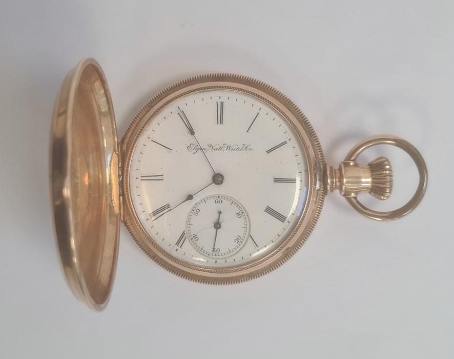 14k Gold-coloured full hunter pocket watch, the enamel dial inscribed 'Elgin National Watch