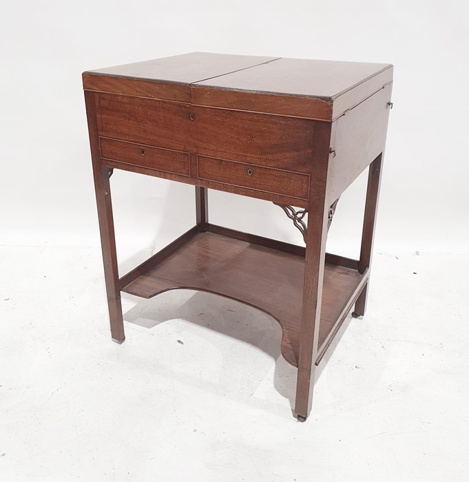19th century mahogany barber's shop strung star inlaid folding dressing table, the two foldout flaps