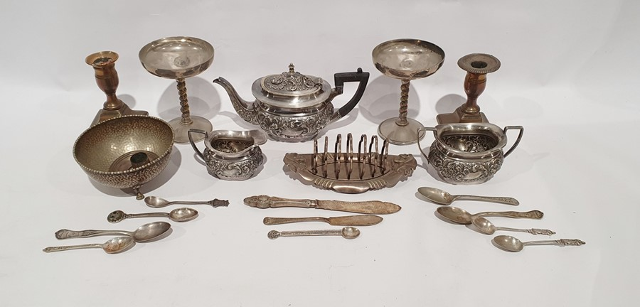 Small quantity of silver plate to include teapot, milk jug, candlestick holder, toastrack, small