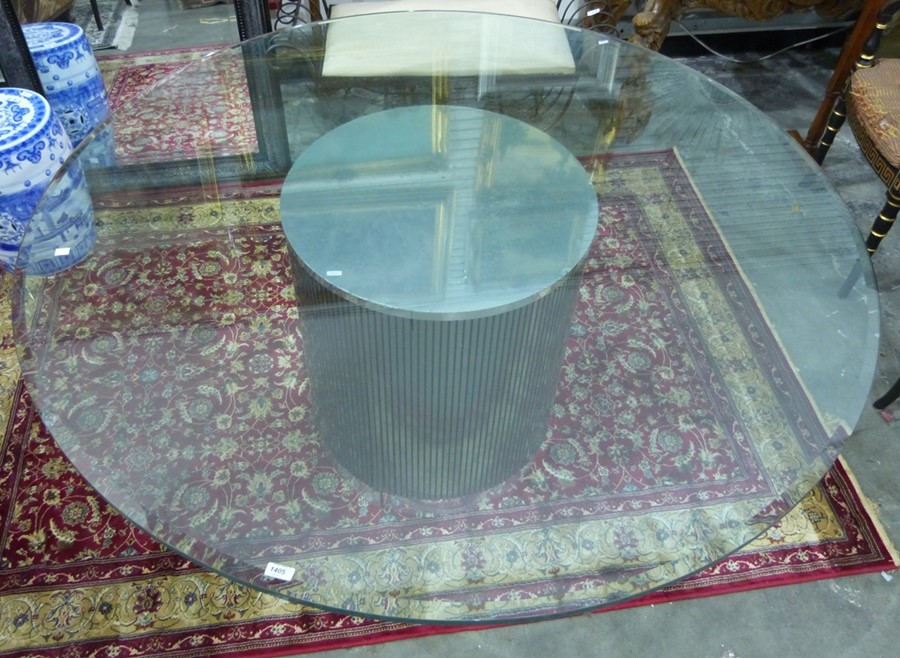 Modern centre tablewith central metallic cylindrical base and circular plate glass top, 153cm - Image 2 of 2