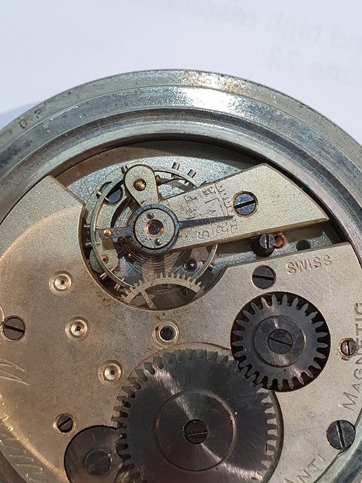 Silver open-faced pocket watch, the enamel dial with subsidiary seconds dial (glass broken), a - Image 11 of 19