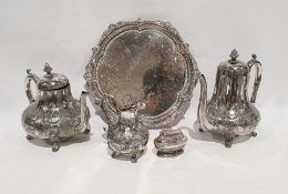Silver plated three-piece tea and coffee setcomprising of teapot, milk jug and coffee pot, a silver