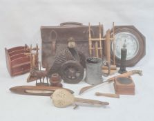Quantity of collectables to include pewter mug, aneroid barometer, wooden items, etc. (1 box and a