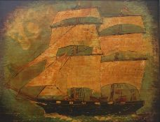 Naive school Oil on board Sailing boat, signed with monogram and dated 90 lower right, 37cm x