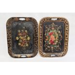 Two old japanned metal trays, rectangular but with integral handles and having painted floral