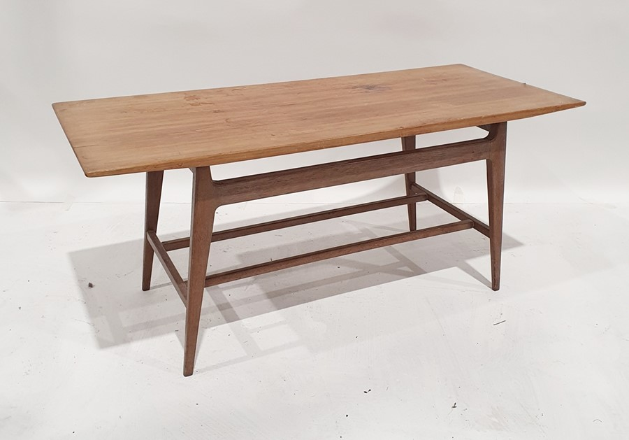 Mid century modern teak rectangular-top coffee tablewith shaped supports, 94cm wide