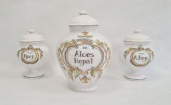 Italian maiolica large drug jarinscribed 'Aloes Hepat' and another pair of pedestalinscribed '
