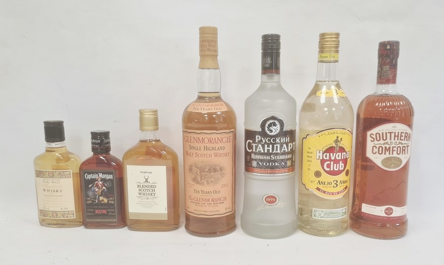 Selection of spirits including litre bottles of Havana Club rum, Southern Comfort Imperial