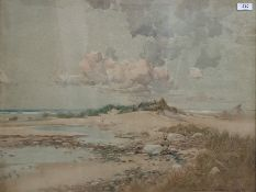 Oswald Garside (1879-1942) Watercolour Coastal scene withdunes, signed and dated lower right, 46