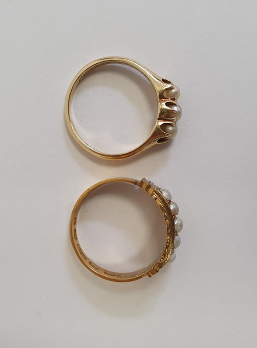 Victorian15ct gold ring, Birmingham 1879, set with five split pearls, finger size L, and a gold ring - Image 2 of 5