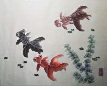 Pair Chinese silk embroidered roundels, floral spray and landscape, each 29cm dia., framed and