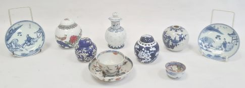Chinese porcelain teabowl and saucer in Imari colours, sundry porcelain ginger jars, pair Chinese