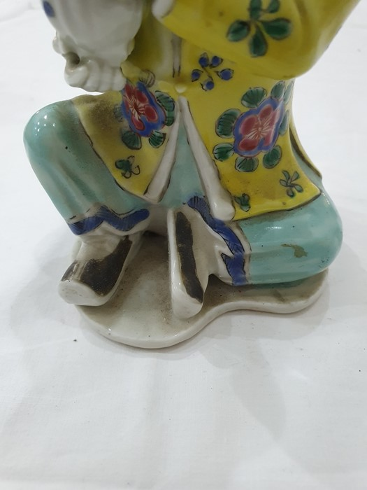 Pair of Chinese porcelain seated figures, laughing boys, each holding a blue and white vase, 16cm - Image 15 of 26