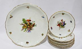 Rosenthal part dessert set comprising one large serving dish and eight plates, all of shaped