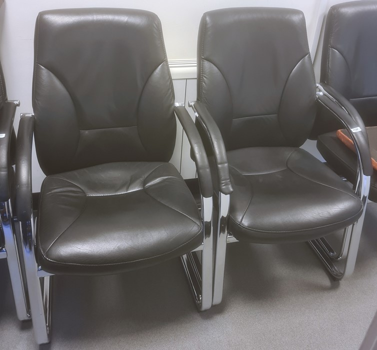 Two office chairs with curved arm rests (2)