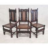 Set of eight Jacobean-style cane-backed and seated chairsincluding two carvers, carved backs and