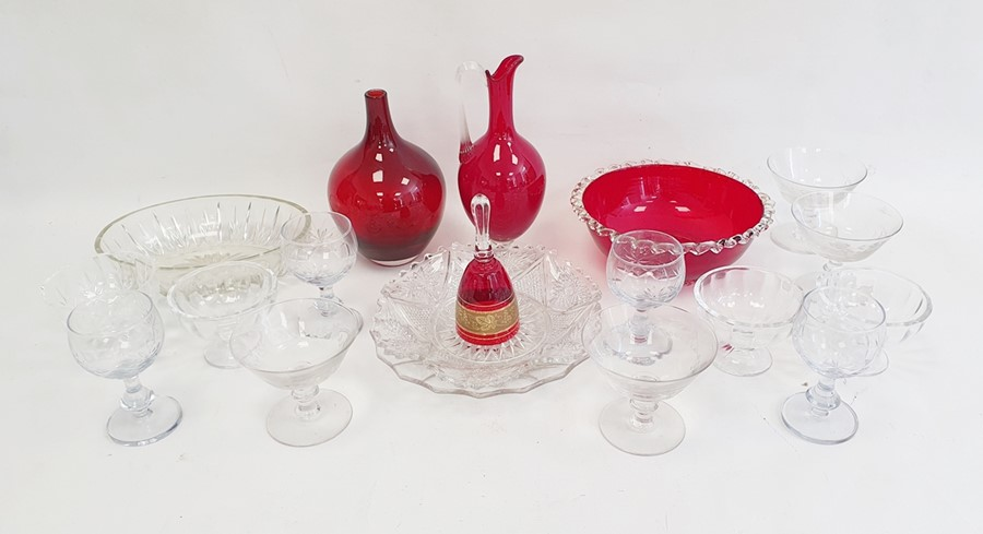 19 pieces of glass to including cranberry coloured vase 20cm high and bowl 22cm diameter, wine