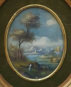 British School - 20th century Pair of oils on board Landscape scenes, oval, 9.5 x 7.5cm, signed with