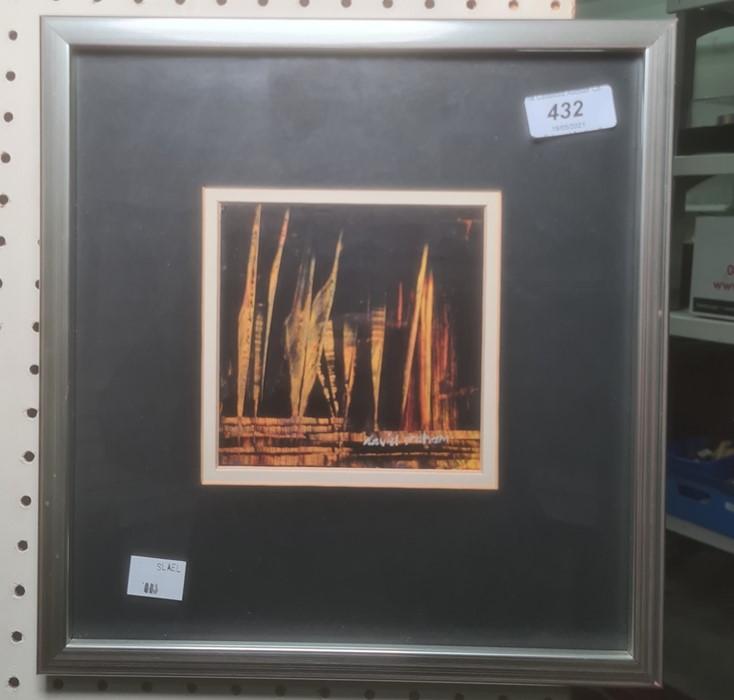 David Graham (20th century) Oil on card Orange highlights on a black ground, 11cm x 11cm - Image 2 of 2