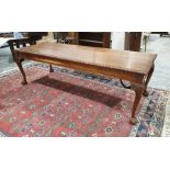20th century mahogany rectangular dining table, the moulded edge above cabriole legs to claw and