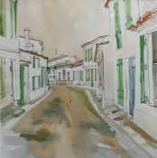 Evan C B - 20th century Pen, ink and watercolour Street scene with chickens in the foreground,