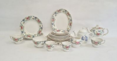 Royal Doulton Booths 'Floradora' teaware and serving dishesand an Oriental blue and white teapot