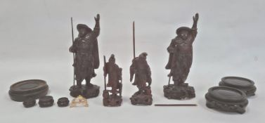 Two various pairs of Japanese carved hardwood figures, the tallest 21cm and a small quantity of