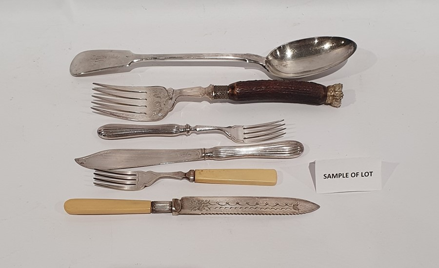 Quantity of silver plated flatwareto include flatware marked 'Dixon', fish servers and other