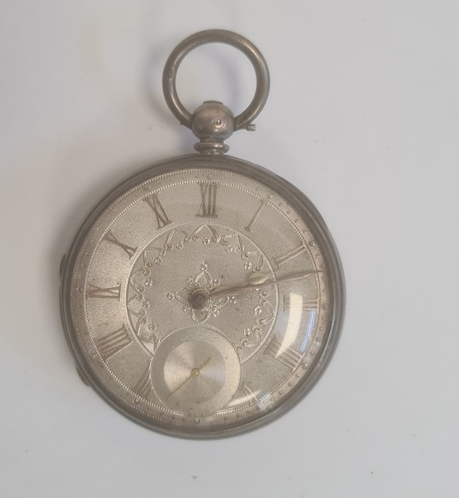 Silver open-faced pocket watch, the silver dial with Roman numerals and subsidiary seconds dial