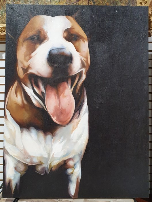 "Bex Barton (21st century) Oils on canvas ""Henry"", 102cm x 76cm (unframed) Greyhound head, 61cm x - Image 3 of 4"