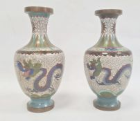 Pair Chinese cloisonnéenamel vases, baluster shaped, each with pair dragons and flaming pearl,