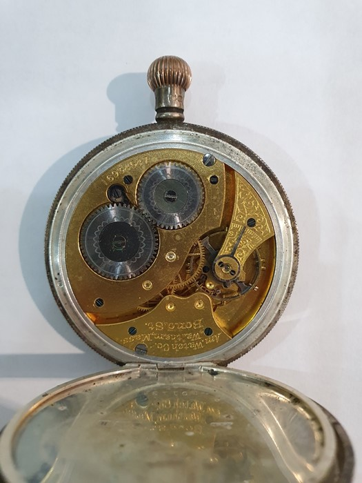 Silver open-faced pocket watch, the enamel dial with subsidiary seconds dial (glass broken), a - Image 15 of 19