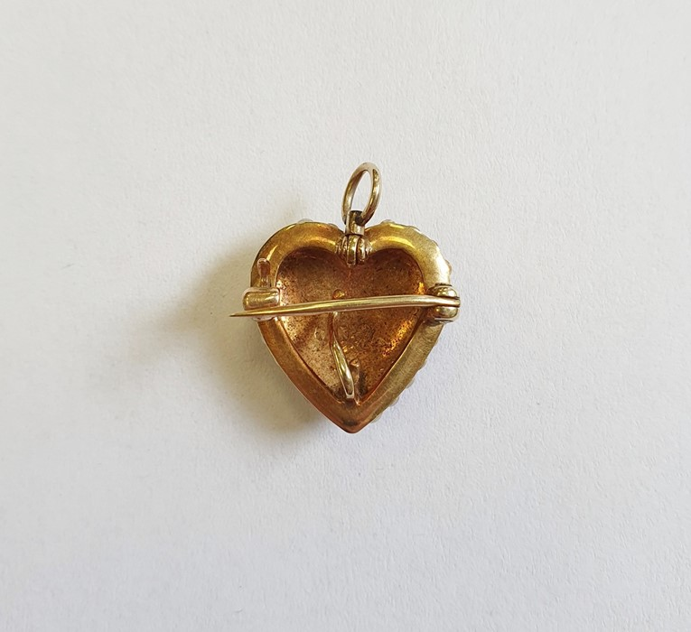 Late 19th/early 20th century gold and seed pearl heart-shaped brooch/pendant, with fleur-de-lis - Image 2 of 2