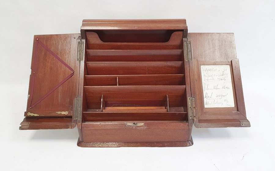 Late 19th/early 20th century mahogany desk tidy, the two doors opening to reveal compartmented - Image 4 of 4