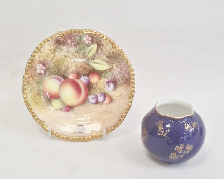 Royal Worcester small platepainted with apples and cherries, signed by 'S Roberts', 15cm diameter