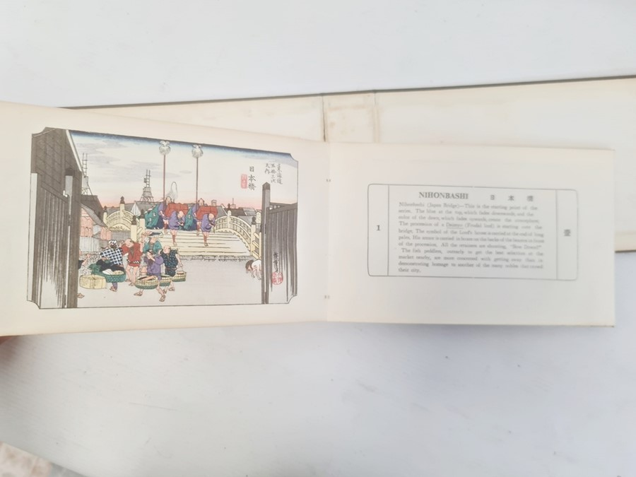 """Hiroshige, Ichiryusai, a miniature book, """"The Tokaido Fifty Three Stations"""", folding out to reveal - Image 13 of 16"""