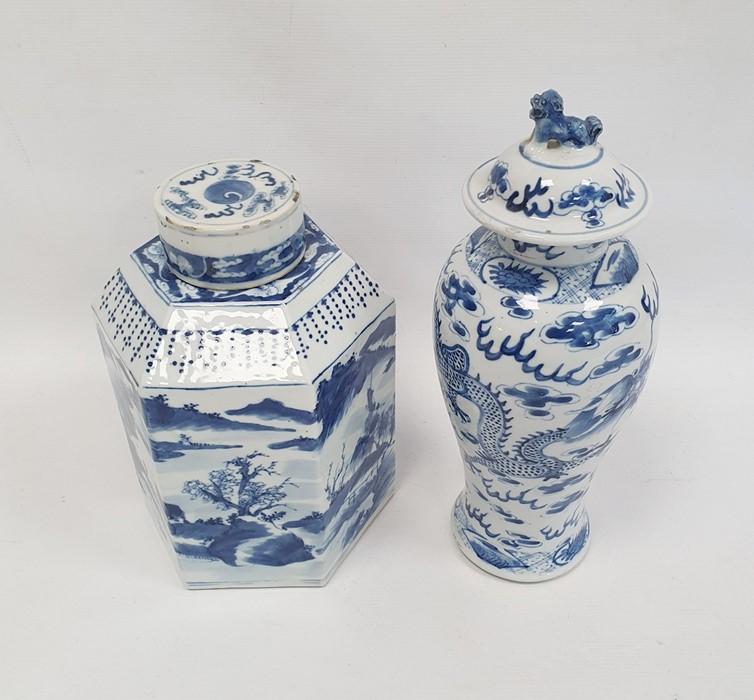 Chinese porcelain hexagonal jar and cover, underglaze blue decoration of lakeside landscape - Image 2 of 25