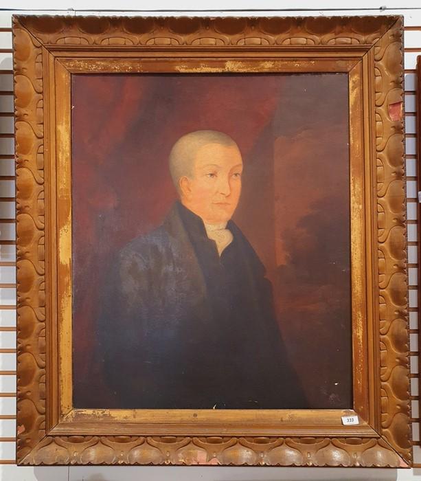 British school (19th century) Oil on canvas Half-length portrait of a gentleman in a black coat, - Image 2 of 3