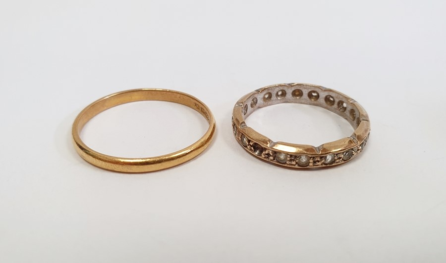 22ct gold wedding ring, narrow and worn, approx. 2g and a 9ctgold ring set tiny diamonds (two